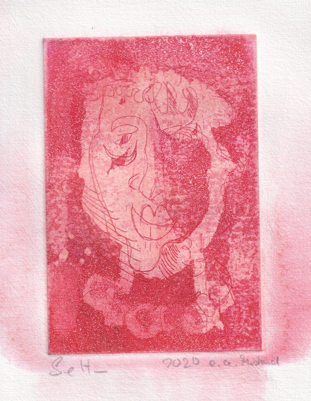 Eine schaut rot, 15 x 10 cm, Aquatinta von Susanne Haun (c) VG Bild-Kunst, Bonn 2020