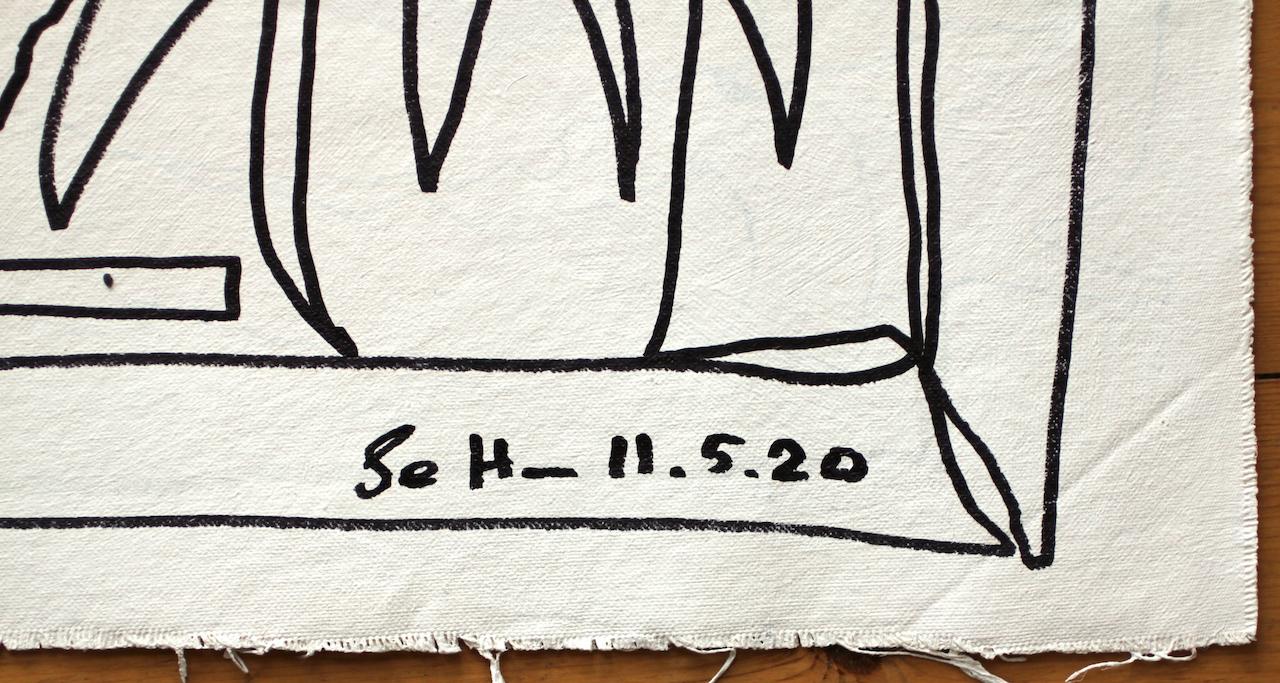 Detailansicht, Doppelter Blick aus dem Fenster, 57 x 73,5 cm, Zeichnung auf Leinwand von Susanne Haun (c) VG Bild-Kunst, Bonn 2020