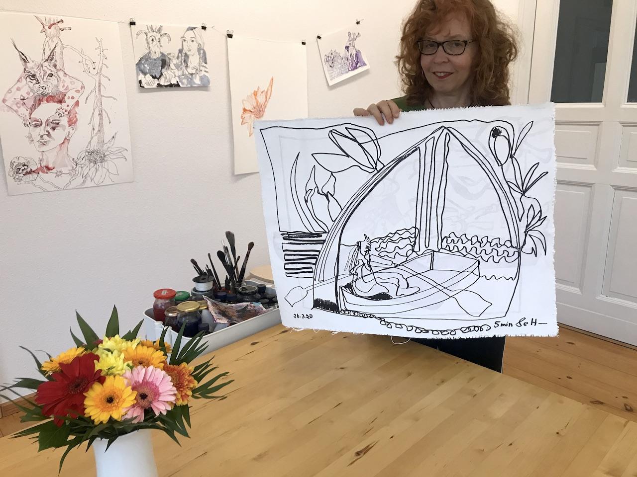 Doppelter Blick aus dem Fenster, 57 x 73,5 cm, Zeichnung auf Leinwand von Susanne Haun (c) VG Bild-Kunst, Bonn 2020.