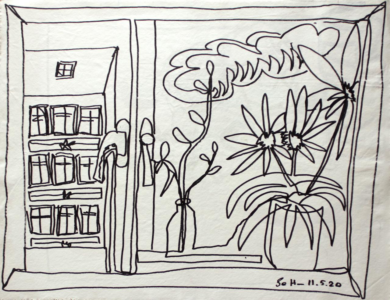 Verso, Doppelter Blick aus dem Fenster, 57 x 73,5 cm, Zeichnung auf Leinwand von Susanne Haun (c) VG Bild-Kunst, Bonn 2020.