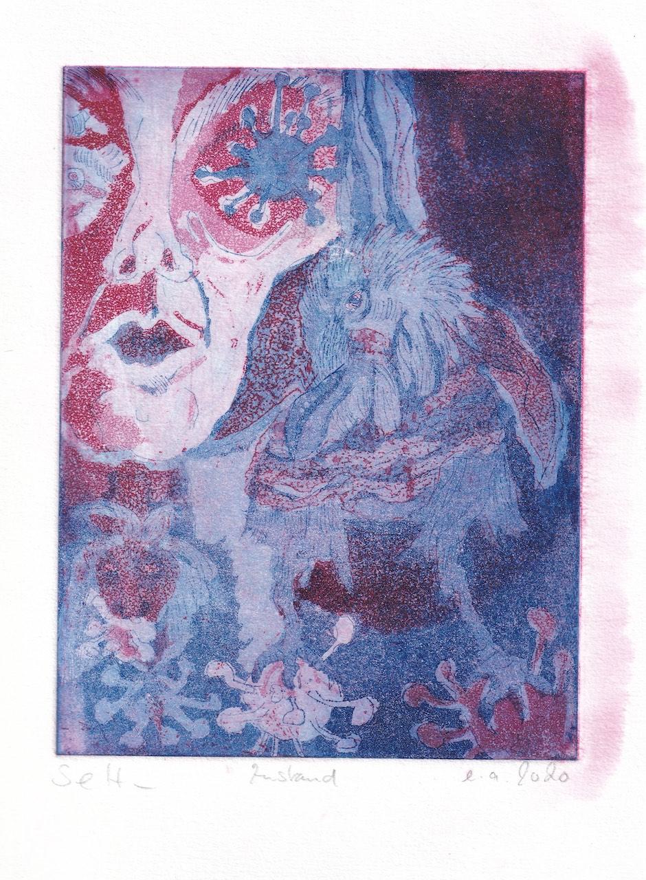 Die Traumdeuterin und Seherin, Aquatinta von 2 Platten, blau - rot, 20 x 15 cm, Radierung von Susanne Haun, (c) VG Bild-Kunst, Bonn 2020