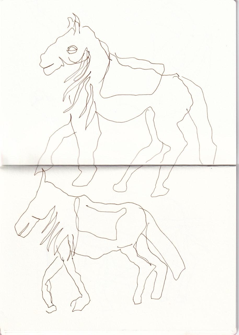 Pferde in der Prignitz, Zeichnung von Susanne Haun (c) VG Bild-Kunst, Bonn 2020