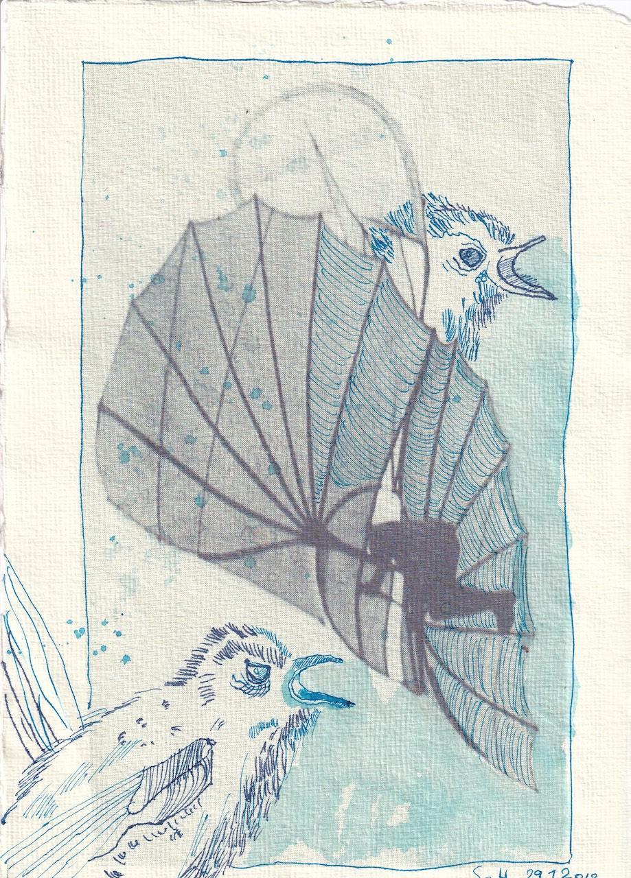 Blatt 36 - Zyklus Otto Lilienthal - Zeichnung von Susanne Haun - 30 x 20 cm - Tusche auf Silberburg Bütten (c) VG Bild-Kunst, Bonn 2020