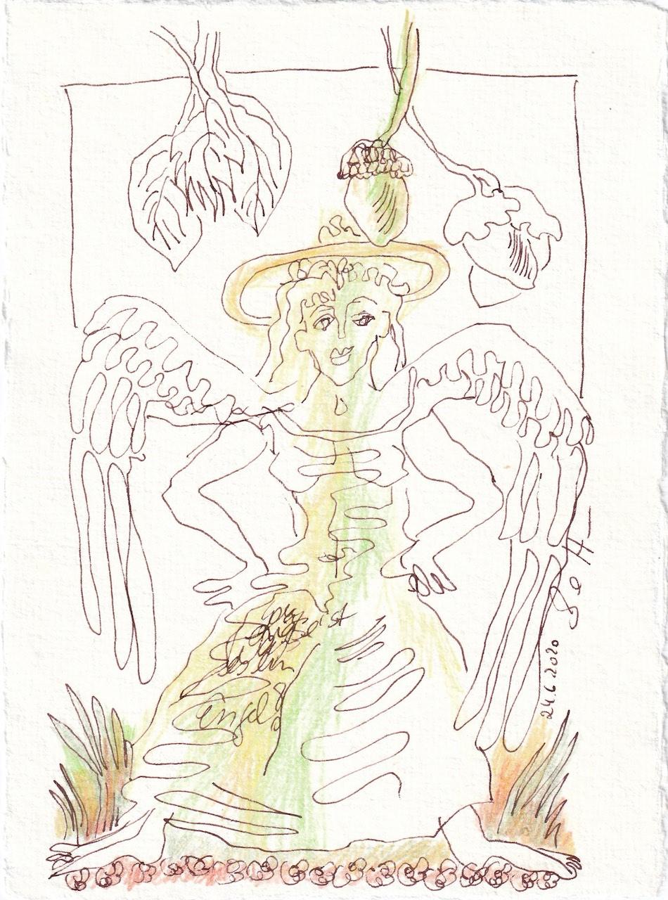 Tagebucheintrag 24.6.2020, Ein Engel im Grünen, 20 x 15 cm, Tinte und Buntstift auf Silberburg Büttenpapier, Zeichnung von Susanne Haun (c) VG Bild-Kunst, Bonn 2020