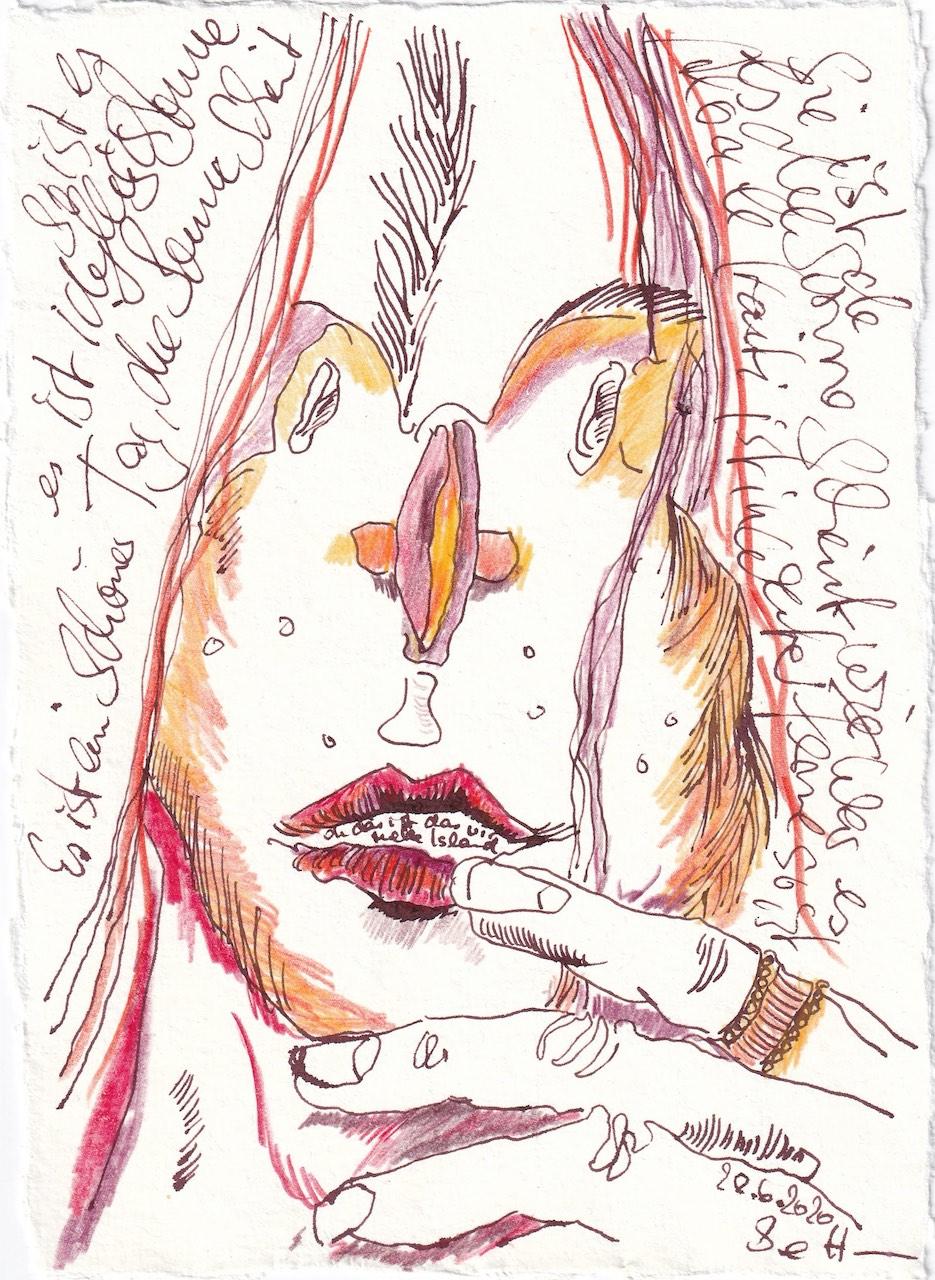 Tagebucheintrag 28.6.2020, Die Sonne scheint, 20 x 15 cm, Tinte und Buntstift auf Silberburg Büttenpapier, Zeichnung von Susanne Haun (c) VG Bild-Kunst, Bonn 2020