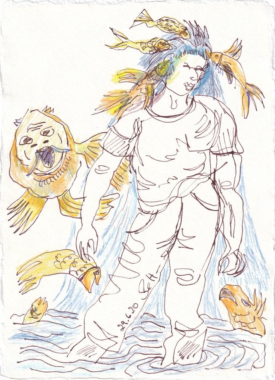 Tagebucheintrag 29.6.2020, Auf den Fisch gekommen, 20 x 15 cm, Tinte und Buntstift auf Silberburg Büttenpapier, Zeichnung von Susanne Haun (c) VG Bild-Kunst, Bonn 2020