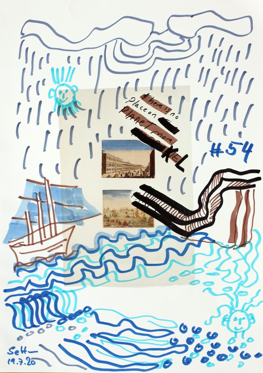 Die Fjorde von Kiel, 30,5 x 22,7 cm, Marker auf Katalog, Aneignung, Zeichung von Susanne Haun (c) VG Bild-Kunst, Bonn 2020