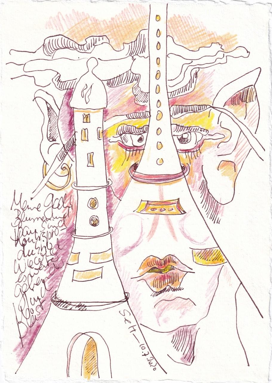 Tagebucheintrag 10.7.2020, Kontraproduktiv, 20 x 15 cm, Tinte und Buntstift auf Silberburg Büttenpapier, Zeichnung von Susanne Haun (c) VG Bild-Kunst, Bonn 2020