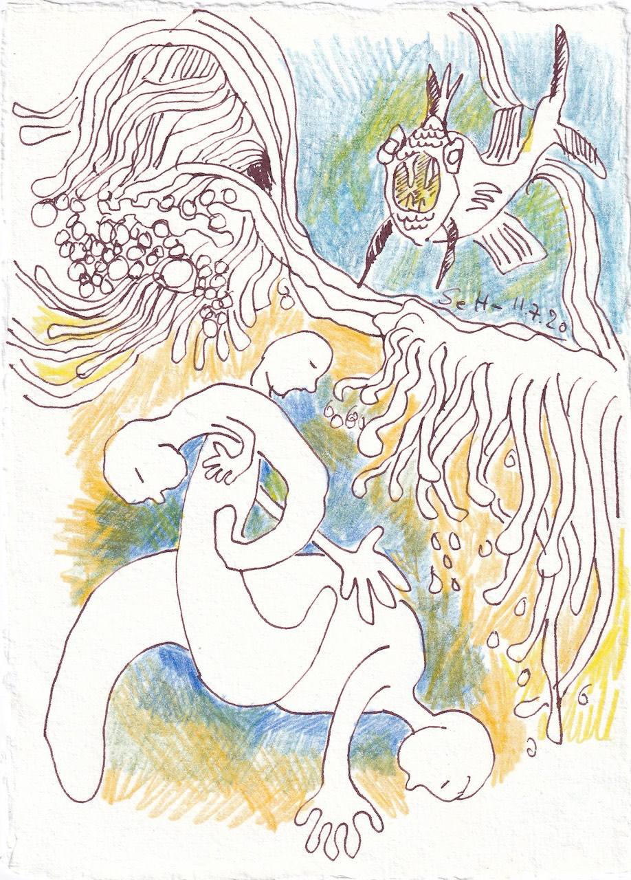Tagebucheintrag 11.7.2020, Was schwimmt da im Meer, 20 x 15 cm, Tinte und Buntstift auf Silberburg Büttenpapier, Zeichnung von Susanne Haun (c) VG Bild-Kunst, Bonn 2020
