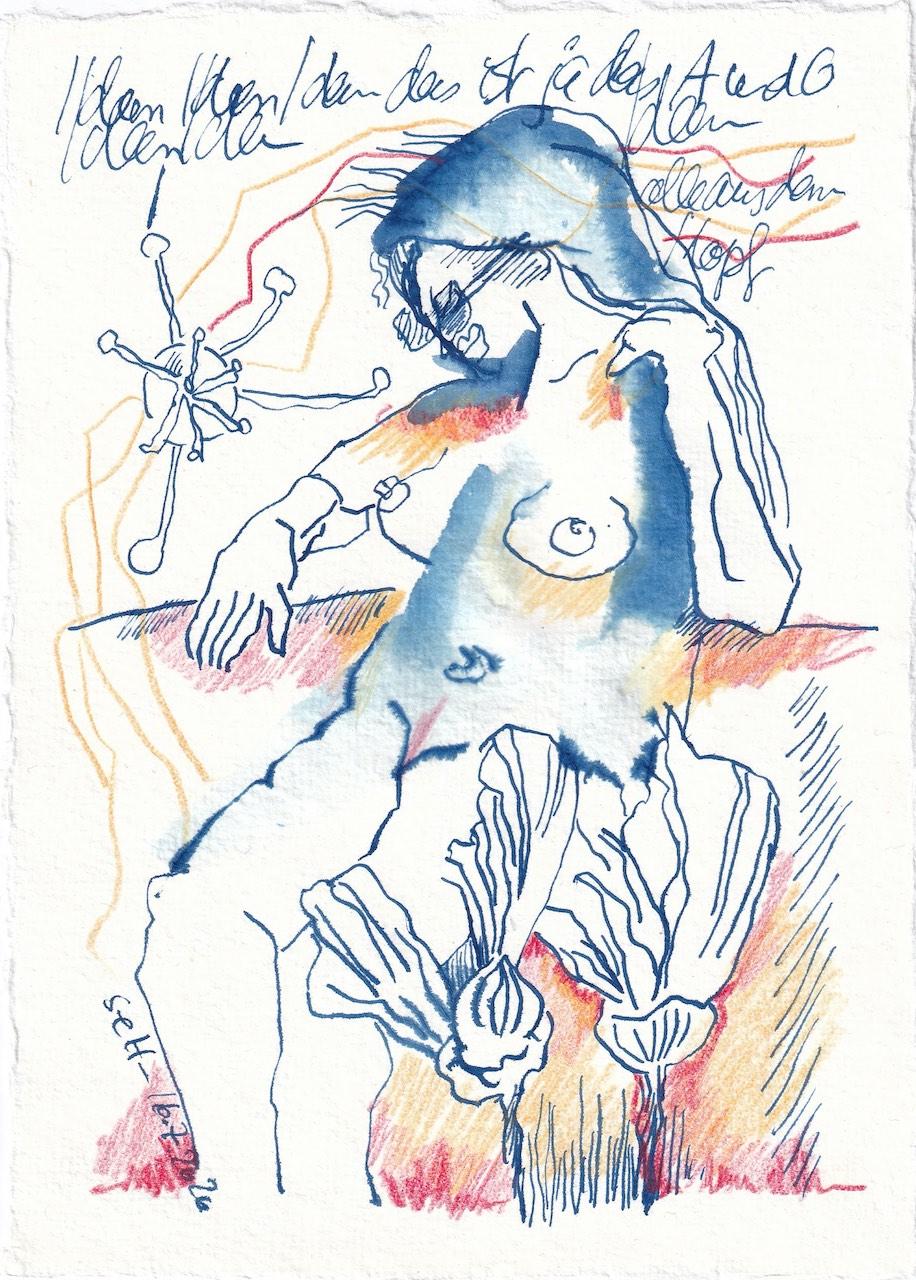 Tagebucheintrag 16.7.2020, Ideen, Ideen Ideen, 20 x 15 cm, Tinte und Buntstift auf Silberburg Büttenpapier, Zeichnung von Susanne Haun (c) VG Bild-Kunst, Bonn 2020