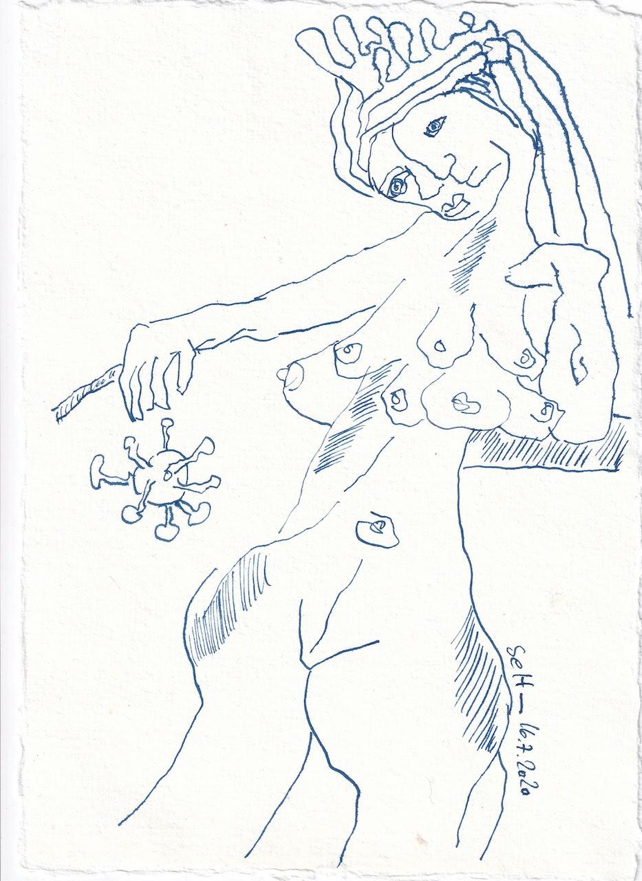 Tagebucheintrag 16.7.2020, Was für eine Göttin, 20 x 15 cm, Tinte und Buntstift auf Silberburg Büttenpapier, Zeichnung von Susanne Haun (c) VG Bild-Kunst, Bonn 2020