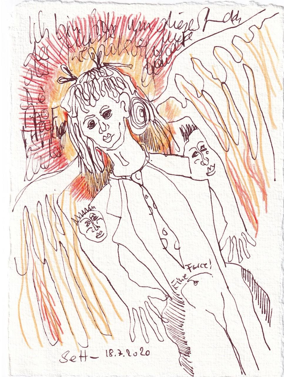 Tagebucheintrag 18.7.2020, Eine Farce!, 20 x 15 cm, Tinte und Buntstift auf Silberburg Büttenpapier, Zeichnung von Susanne Haun (c) VG Bild-Kunst, Bonn 2020