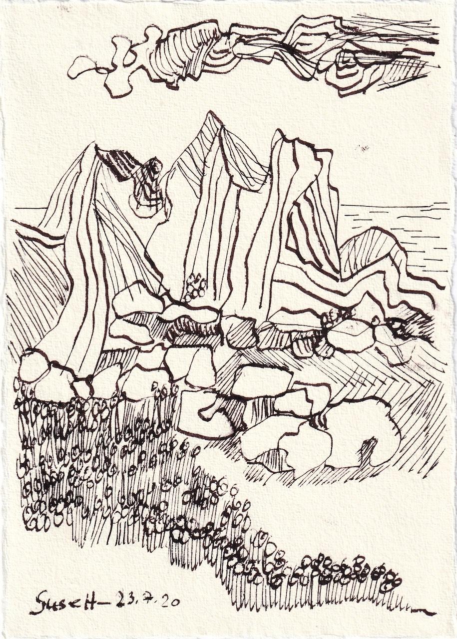 Tagebucheintrag 23.7.2020, Ich träum evon Sizilien, 20 x 15 cm, Tinte und Buntstift auf Silberburg Büttenpapier, Zeichnung von Susanne Haun (c) VG Bild-Kunst, Bonn 2020