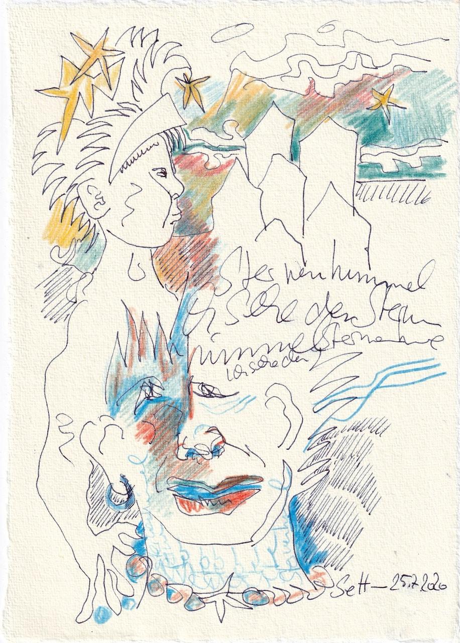 Tagebucheintrag 25.7.2020, Ich seh den Sternenhimmel, 20 x 15 cm, Tinte und Buntstift auf Silberburg Büttenpapier, Zeichnung von Susanne Haun (c) VG Bild-Kunst, Bonn 2020