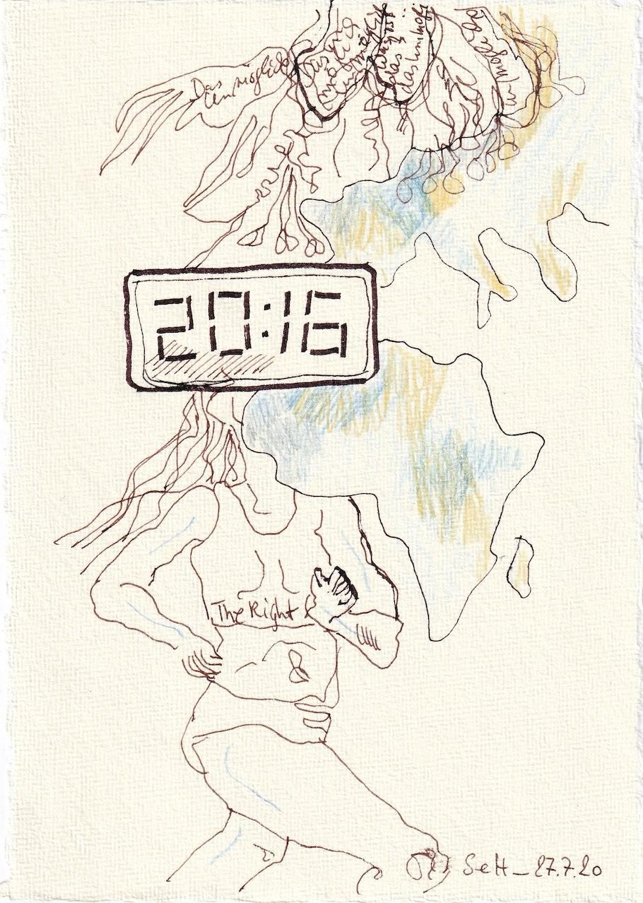 Tagebucheintrag 27.7.2020, Einmal im Leben, 20 x 15 cm, Tinte und Buntstift auf Silberburg Büttenpapier, Zeichnung von Susanne Haun (c) VG Bild-Kunst, Bonn 2020