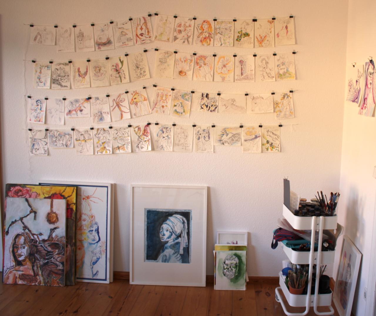 Übersicht über Tagebucheinträge bis dato von Susanne Haun (c) VG Bild-Kunst, Bonn 2020