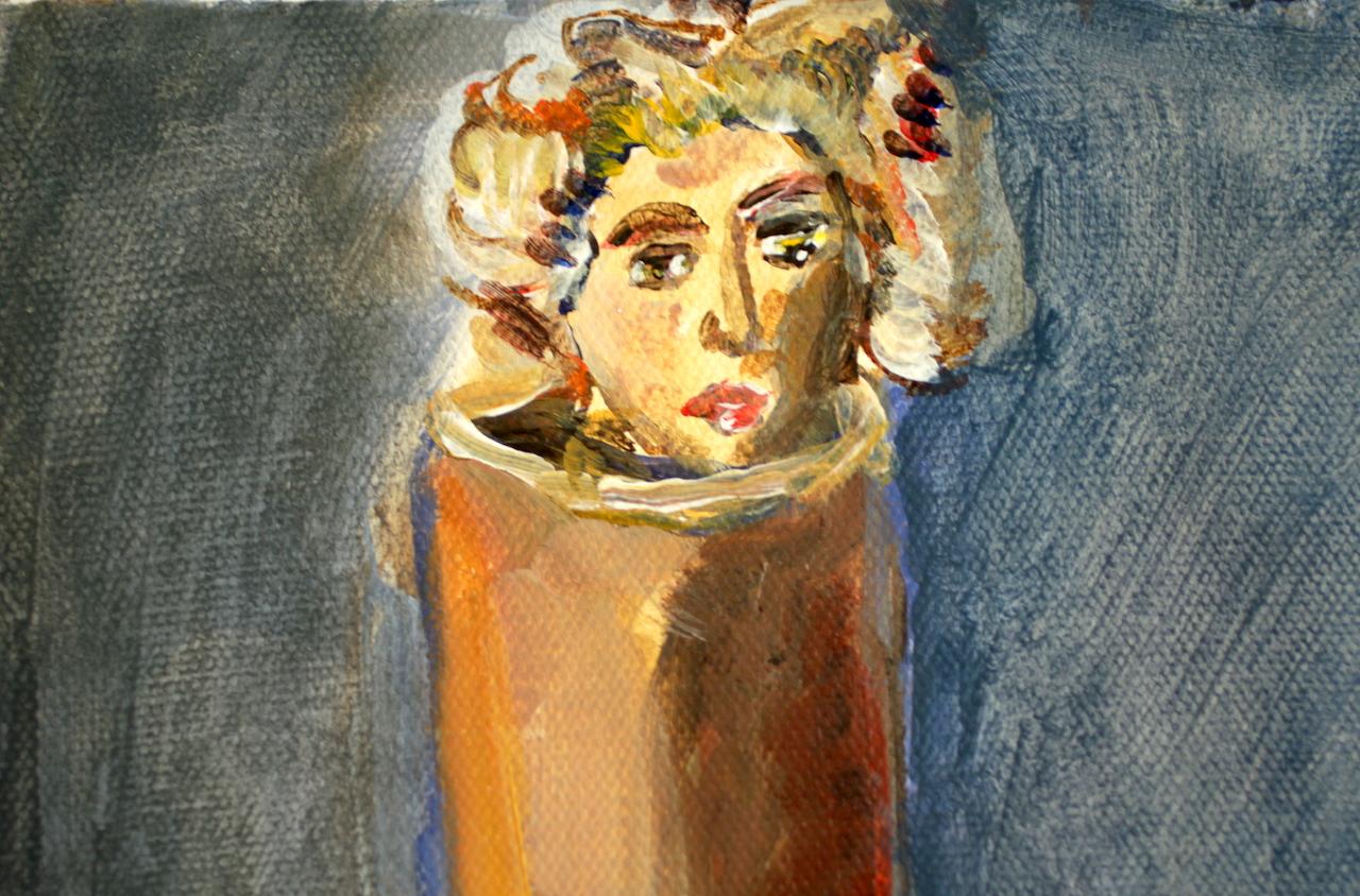 Ausschnitt - Im Herbst aus der Vase gescaut, 30 x 24 cm, Acryl und Tusche auf Leinwand, Gemälde von Susanne Haun (c) VG Bild- Kunst, Bonn 2020