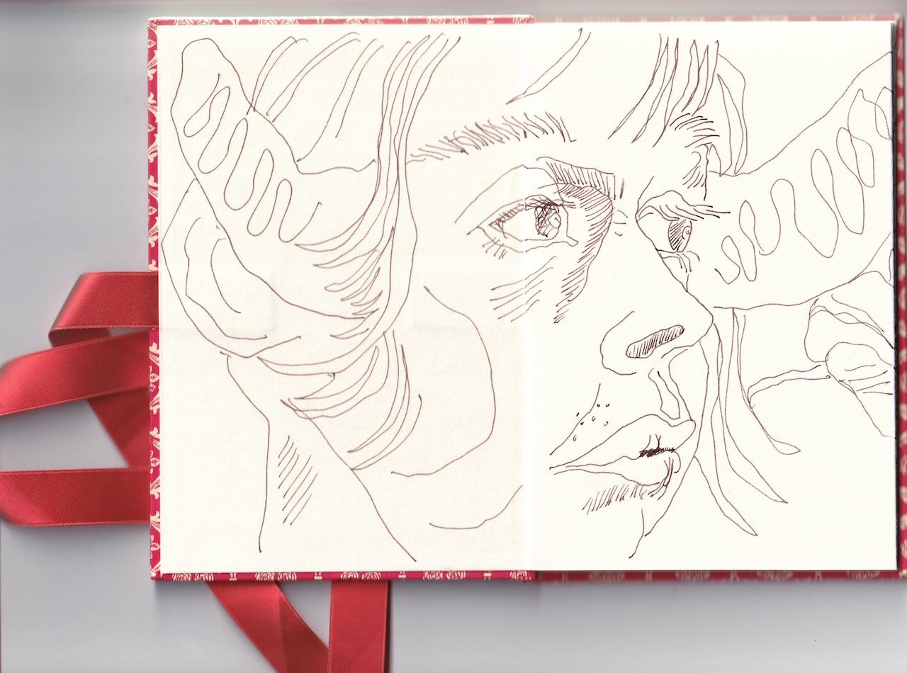 Leporello, Verso S. 1 und 2, Selbst, 17,5 x 12 cm, Zeichnung von Susanne Haun (c) VG Bild-Kunst, Bonn 2020