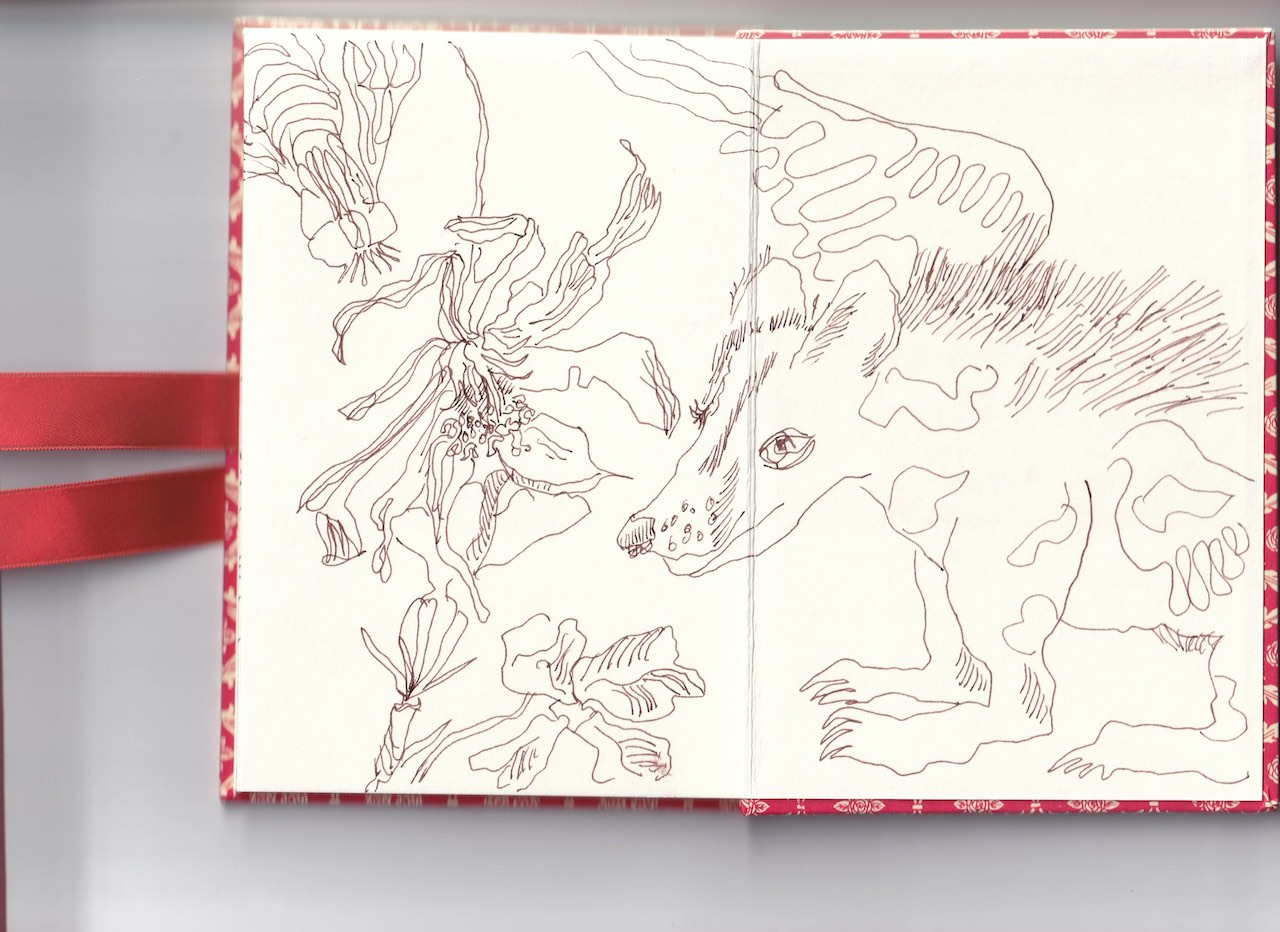Leporello, Verso S. 7 und 8, Sein und Vergehen, 17,5 x 12 cm, Zeichnung von Susanne Haun (c) VG Bild-Kunst, Bonn 2020