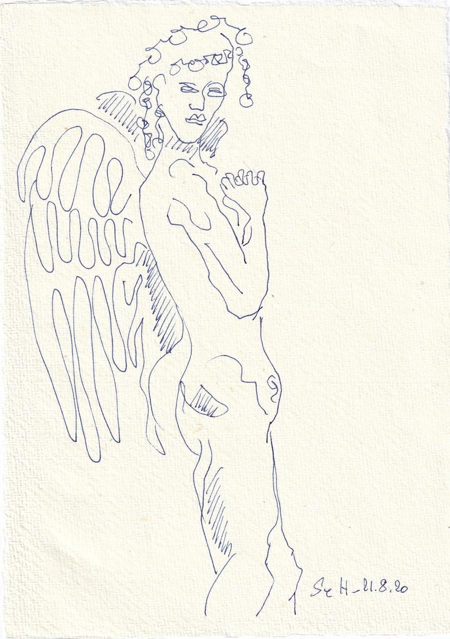 Tagebucheintrag 11.08.2020, Falsch datiert, hat da ein Engel seine Hände im Spiel, 20 x 15 cm, Tinte und Buntstift auf Silberburg Büttenpapier, Zeichnung von Susanne Haun (c) VG Bild-Kunst, Bonn 2020