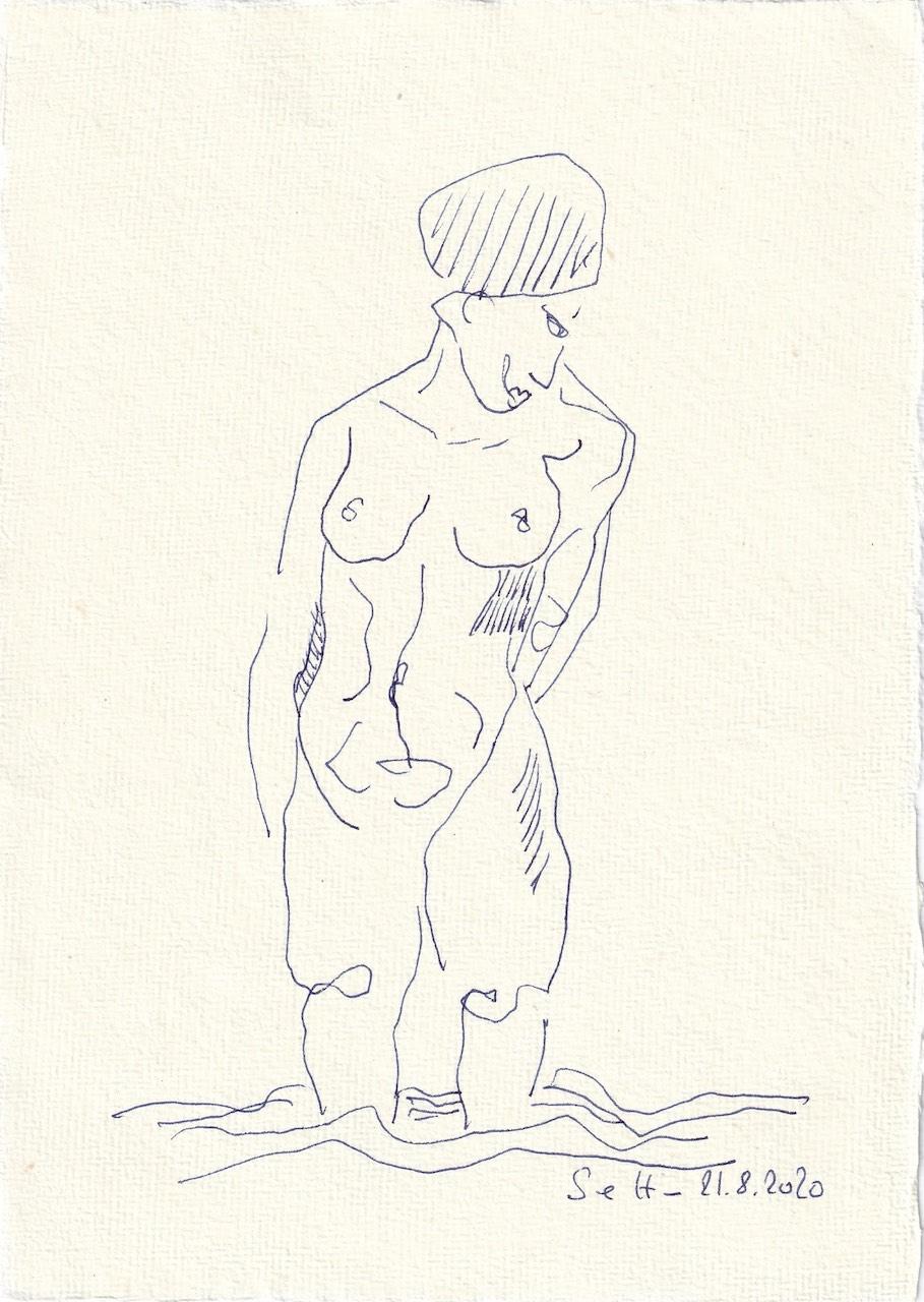 Tagebucheintrag 11.08.2020, Falsch datiert steht sie im Wasser, 20 x 15 cm, Tinte und Buntstift auf Silberburg Büttenpapier, Zeichnung von Susanne Haun (c) VG Bild-Kunst, Bonn 2020