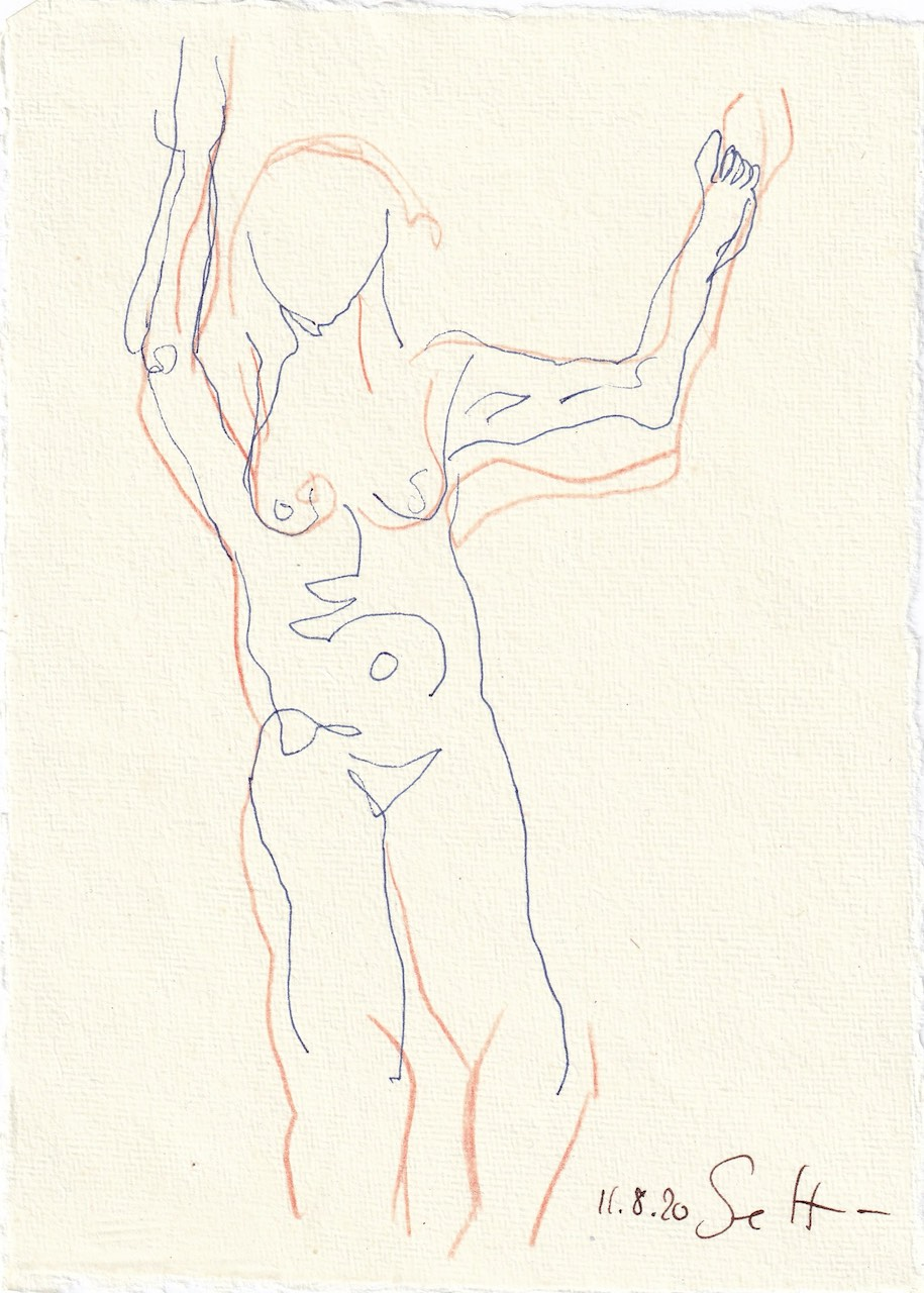 Tagebucheintrag 11.08.2020, Sie tanzt weiter, 20 x 15 cm, Tinte und Buntstift auf Silberburg Büttenpapier, Zeichnung von Susanne Haun (c) VG Bild-Kunst, Bonn 2020
