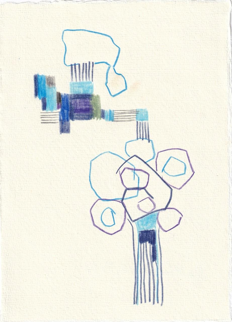 Tagebucheintrag 12.08.2020, Ohne Worte, 20 x 15 cm, Tinte und Buntstift auf Silberburg Büttenpapier, Zeichnung von Susanne Haun (c) VG Bild-Kunst, Bonn 2020