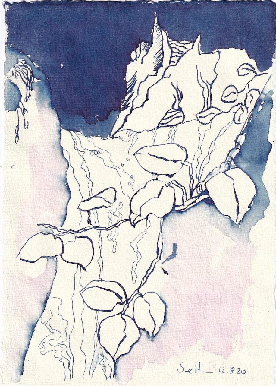 Tagebucheintrag 12.08.2020, Stammt von Heraklit, dass alles fliesst, 20 x 15 cm, Tinte und Buntstift auf Silberburg Büttenpapier, Zeichnung von Susanne Haun (c) VG Bild-Kunst, Bonn 2020