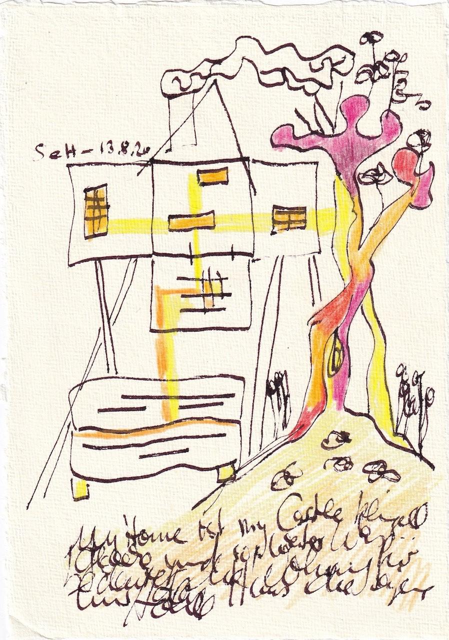 Tagebucheintrag 13.08.2020, My home ist my castle, 20 x 15 cm, Tinte und Buntstift auf Silberburg Büttenpapier, Zeichnung von Susanne Haun (c) VG Bild-Kunst, Bonn 2020
