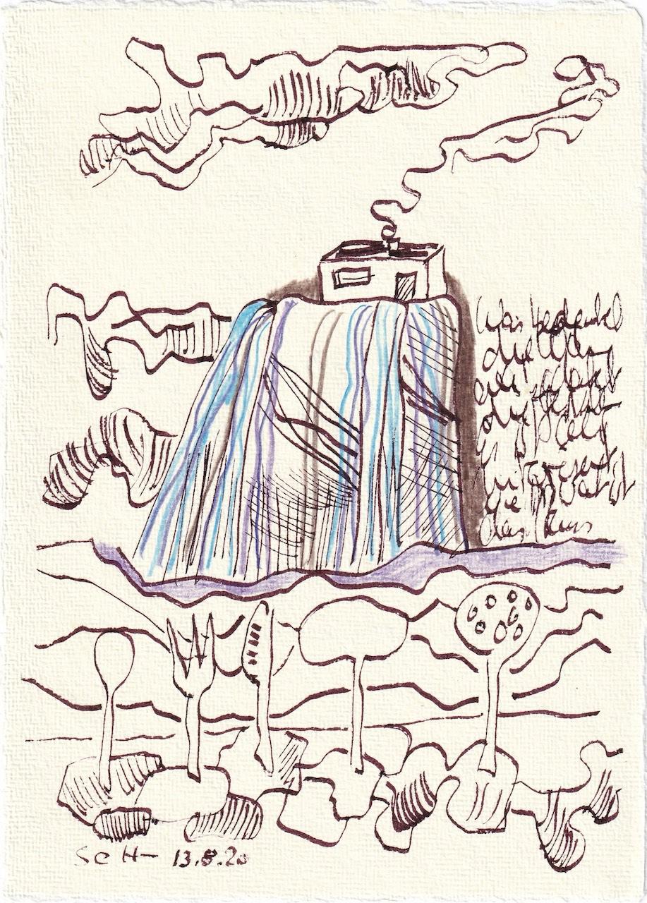 Tagebucheintrag 13.08.2020, Wie wohnen wir, wie fhlt sich das Innere der Wohnung an, 20 x 15 cm, Tinte und Buntstift auf Silberburg Büttenpapier, Zeichnung von Susanne Haun (c) VG Bild-Kunst, Bonn 2020