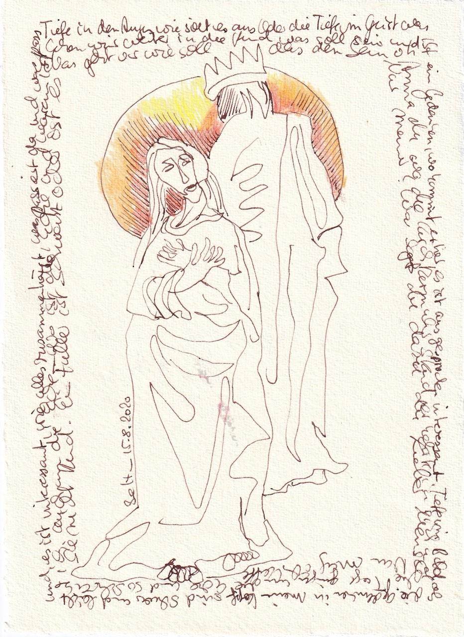 Tagebucheintrag 15.08.2020, Die Tage gehen um die Ecke, 20 x 15 cm, Tinte und Buntstift auf Silberburg Büttenpapier, Zeichnung von Susanne Haun (c) VG Bild-Kunst, Bonn 2020