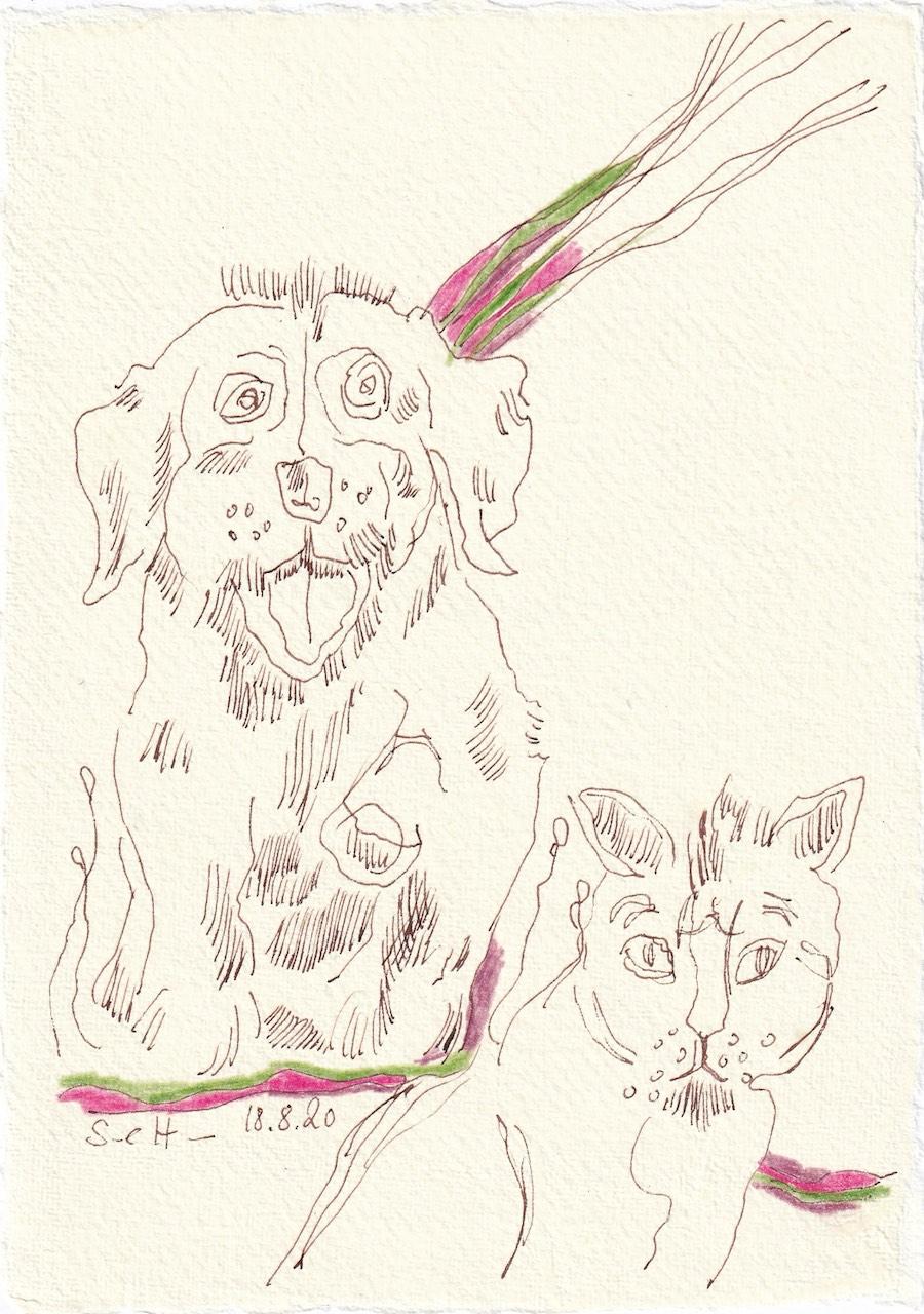Tagebucheintrag 18.08.2020, Ist das nicht niedlich, 20 x 15 cm, Tinte und Buntstift auf Silberburg Büttenpapier, Zeichnung von Susanne Haun (c) VG Bild-Kunst, Bonn 2020