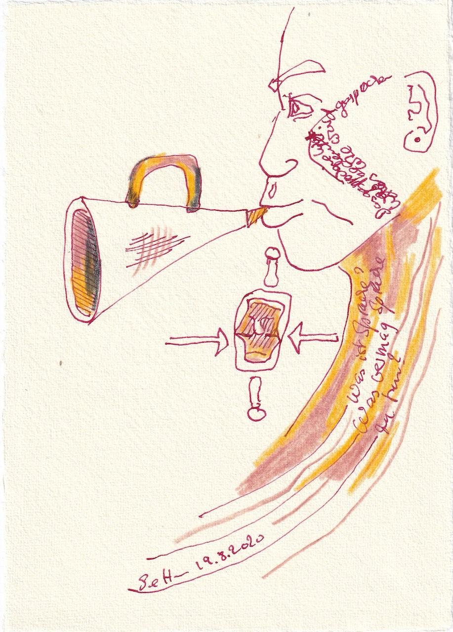 Tagebucheintrag 19.08.2020, Was vermag Sprache zu tun, 20 x 15 cm, Tinte und Buntstift auf Silberburg Büttenpapier, Zeichnung von Susanne Haun (c) VG Bild-Kunst, Bonn 2020