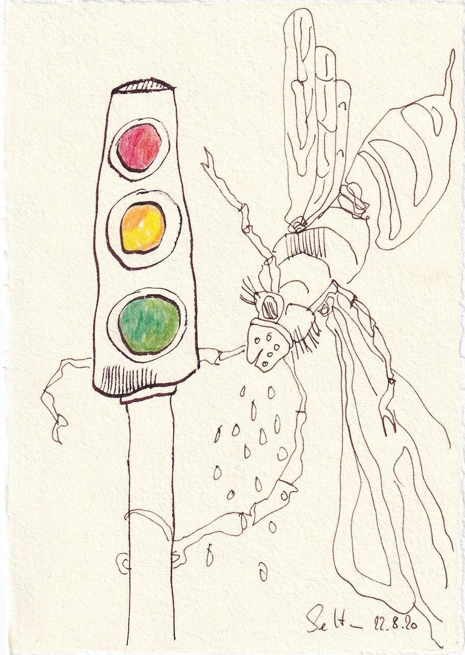 Tagebucheintrag 22.08.2020, Ampelkoalition, Coronaampel, Verkehrsampel, 20 x 15 cm, Tinte und Buntstift auf Silberburg Büttenpapier, Zeichnung von Susanne Haun (c) VG Bild-Kunst, Bonn 2020