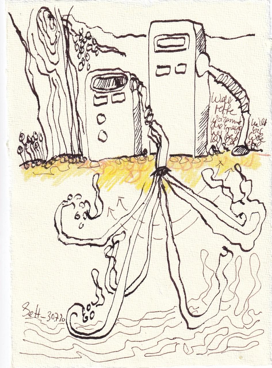 Tagebucheintrag 30.7.2020, Die Welt retten, 20 x 15 cm, Tinte und Buntstift auf Silberburg Büttenpapier, Zeichnung von Susanne Haun (c) VG Bild-Kunst, Bonn 2020