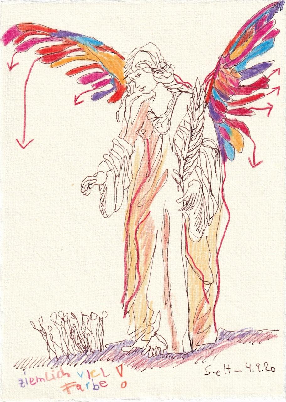 Tagebucheintrag 04.09.2020, Ziemlich viel Farbe, 20 x 15 cm, Tinte und Buntstift auf Silberburg Büttenpapier, Zeichnung von Susanne Haun (c) VG Bild-Kunst, Bonn 2020