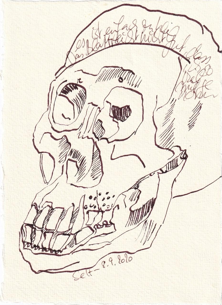 Tagebucheintrag 08.09.2020, Die Endlichkeit ohne Farbe, 20 x 15 cm, Tinte und Buntstift auf Silberburg Büttenpapier, Zeichnung von Susanne Haun (c) VG Bild-Kunst, Bonn 2020