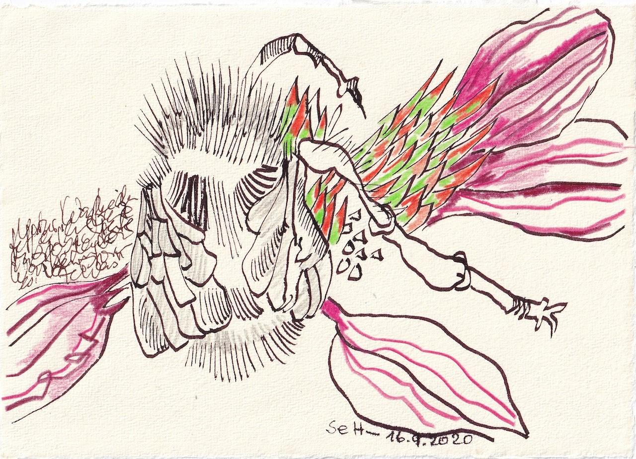 Tagebucheintrag 16.09.2020, Was bedeutet das?, 20 x 15 cm, Tinte und Buntstift auf Silberburg Büttenpapier, Zeichnung von Susanne Haun (c) VG Bild-Kunst, Bonn 2020