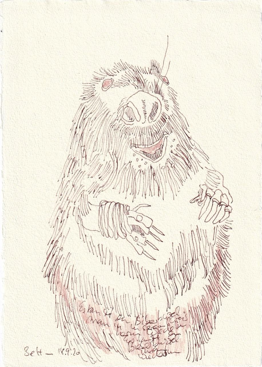 Tagebucheintrag 18.09.2020, Es tanz ein Biba Bzelmann..., 20 x 15 cm, Tinte und Buntstift auf Silberburg Büttenpapier, Zeichnung von Susanne Haun (c) VG Bild-Kunst, Bonn 2020