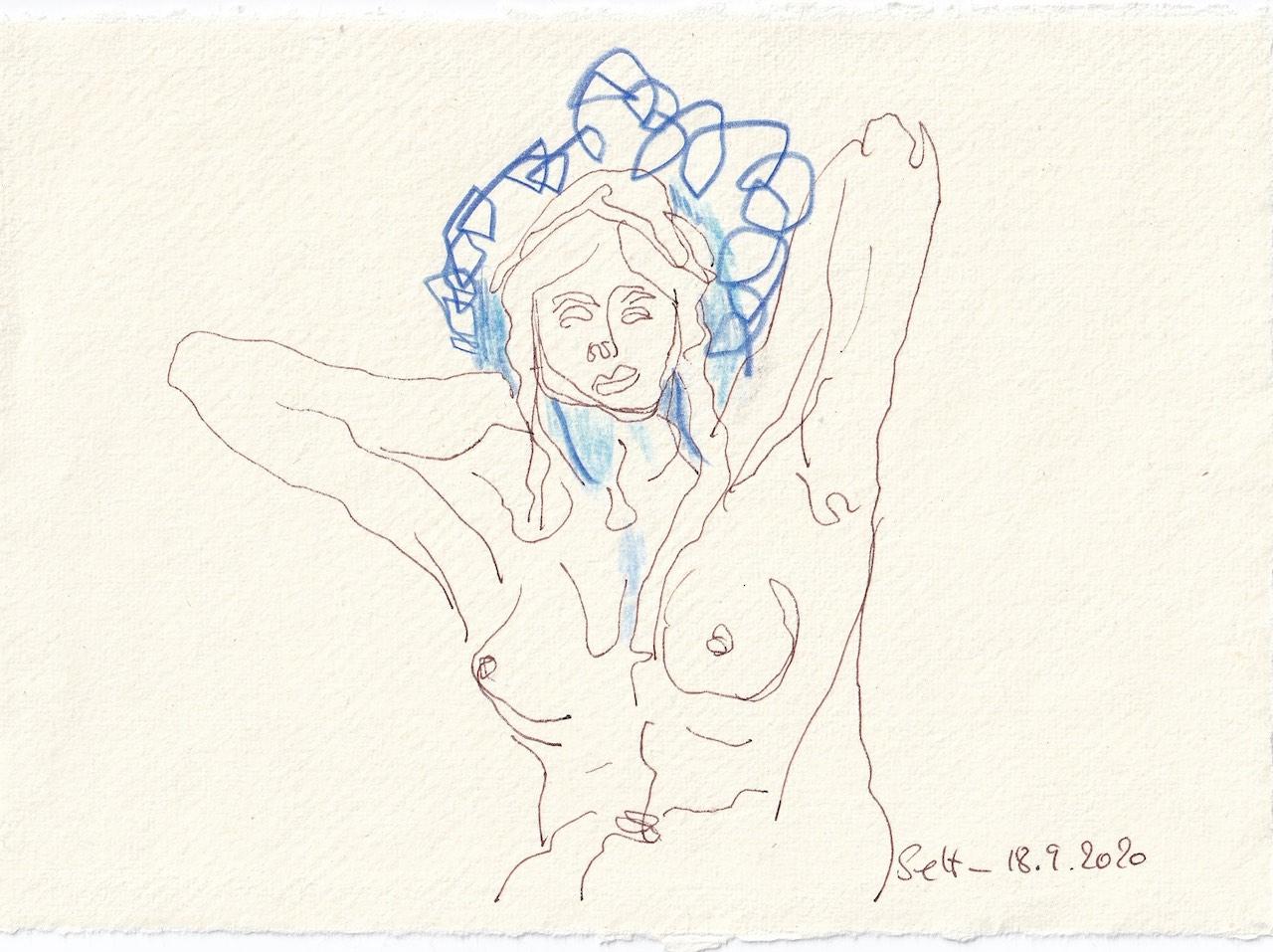 Tagebucheintrag 18.09.2020, Was geht ihr wohl im Kopf herum?, 20 x 15 cm, Tinte und Buntstift auf Silberburg Büttenpapier, Zeichnung von Susanne Haun (c) VG Bild-Kunst, Bonn 2020