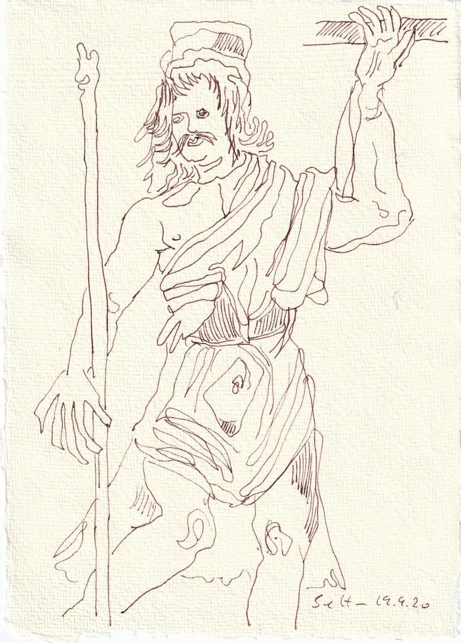 Tagebucheintrag 19.09.2020, Reicht mir den Wein!, 20 x 15 cm, Tinte und Buntstift auf Silberburg Büttenpapier, Zeichnung von Susanne Haun (c) VG Bild-Kunst, Bonn 2020