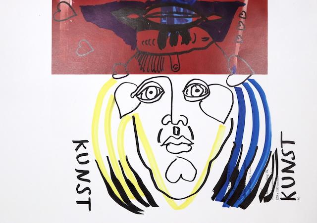 Kunst ist Fortschritt und Aphrodisiakum, 30,5 x 22,7 cm, Marker auf Katalog, Aneignung, Zeichung von Susanne Haun (c) VG Bild-Kunst, Bonn 2020