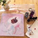 Entstehung - Im Inneren der Dahlie, Gemälde von Susanne Haun, 40 x 40 cm, Acryl und Tusche auf Leinwand (c) VG Bild-Kunst, Bonn 2020