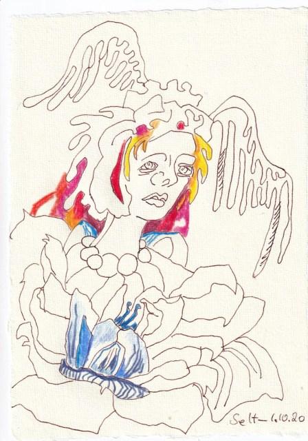 Tagebucheintrag 01.10.2020, Wo geht es hin, 20 x 15 cm, Tinte und Buntstift auf Silberburg Büttenpapier, Zeichnung von Susanne Haun (c) VG Bild-Kunst, Bonn 2020