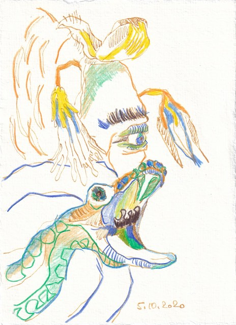 Tagebucheintrag 05.10.2020, Eva, auch liebe Eva, 20 x 15 cm, Tinte und Buntstift auf Silberburg Büttenpapier, Zeichnung von Susanne Haun (c) VG Bild-Kunst, Bonn 2020