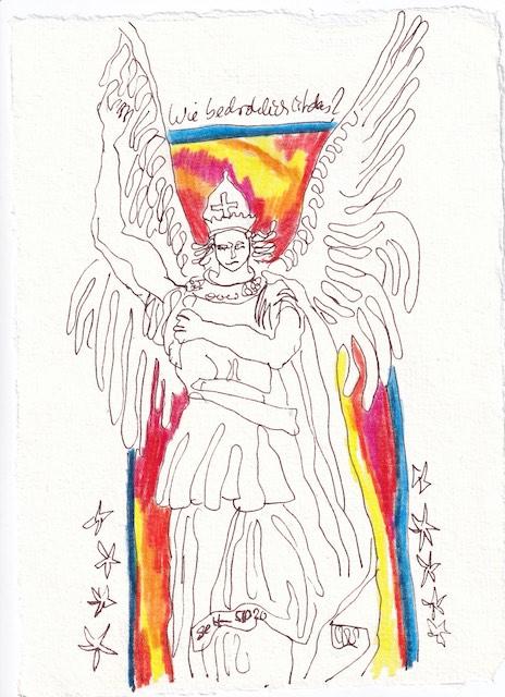 Tagebucheintrag 05.10.2020, Wie bedrohlich ist das, 20 x 15 cm, Tinte und Buntstift auf Silberburg Büttenpapier, Zeichnung von Susanne Haun (c) VG Bild-Kunst, Bonn 2020