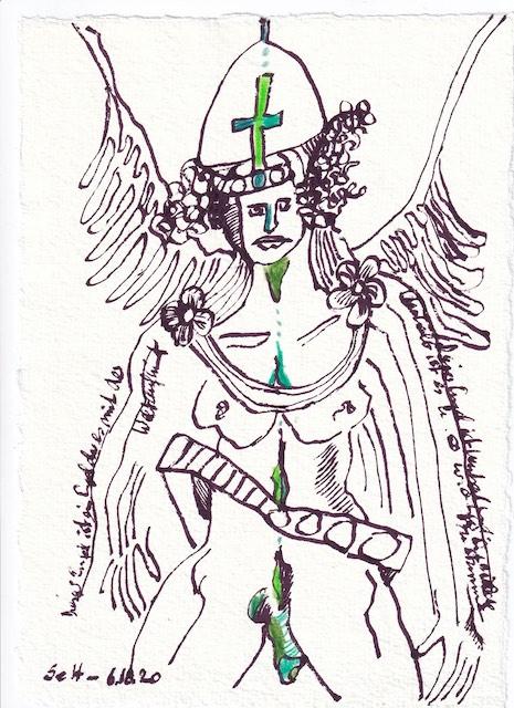 Tagebucheintrag 06.10.2020, Mit der Welt aufnehmen, 20 x 15 cm, Tinte und Buntstift auf Silberburg Büttenpapier, Zeichnung von Susanne Haun (c) VG Bild-Kunst, Bonn 2020