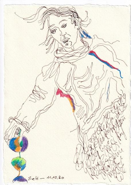 Tagebucheintrag 11.10.2020, Es findet sich immer ein Weg, 20 x 15 cm, Tinte und Buntstift auf Silberburg Büttenpapier, Zeichnung von Susanne Haun (c) VG Bild-Kunst, Bonn 2020