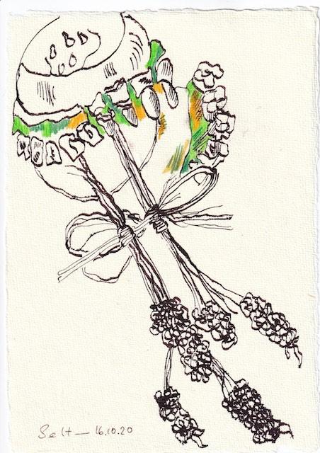 Tagebucheintrag 16.10.2020, Klap Klap Klap macht das Gebiss, 20 x 15 cm, Tinte und Buntstift auf Silberburg Büttenpapier, Zeichnung von Susanne Haun (c) VG Bild-Kunst, Bonn 2020