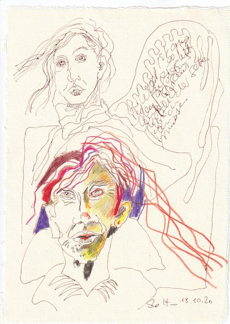 Tagebucheintrag 18.10.2020, Es ist eine andere Welt, 20 x 15 cm, Tinte und Buntstift auf Silberburg Büttenpapier, Zeichnung von Susanne Haun (c) VG Bild-Kunst, Bonn 2020
